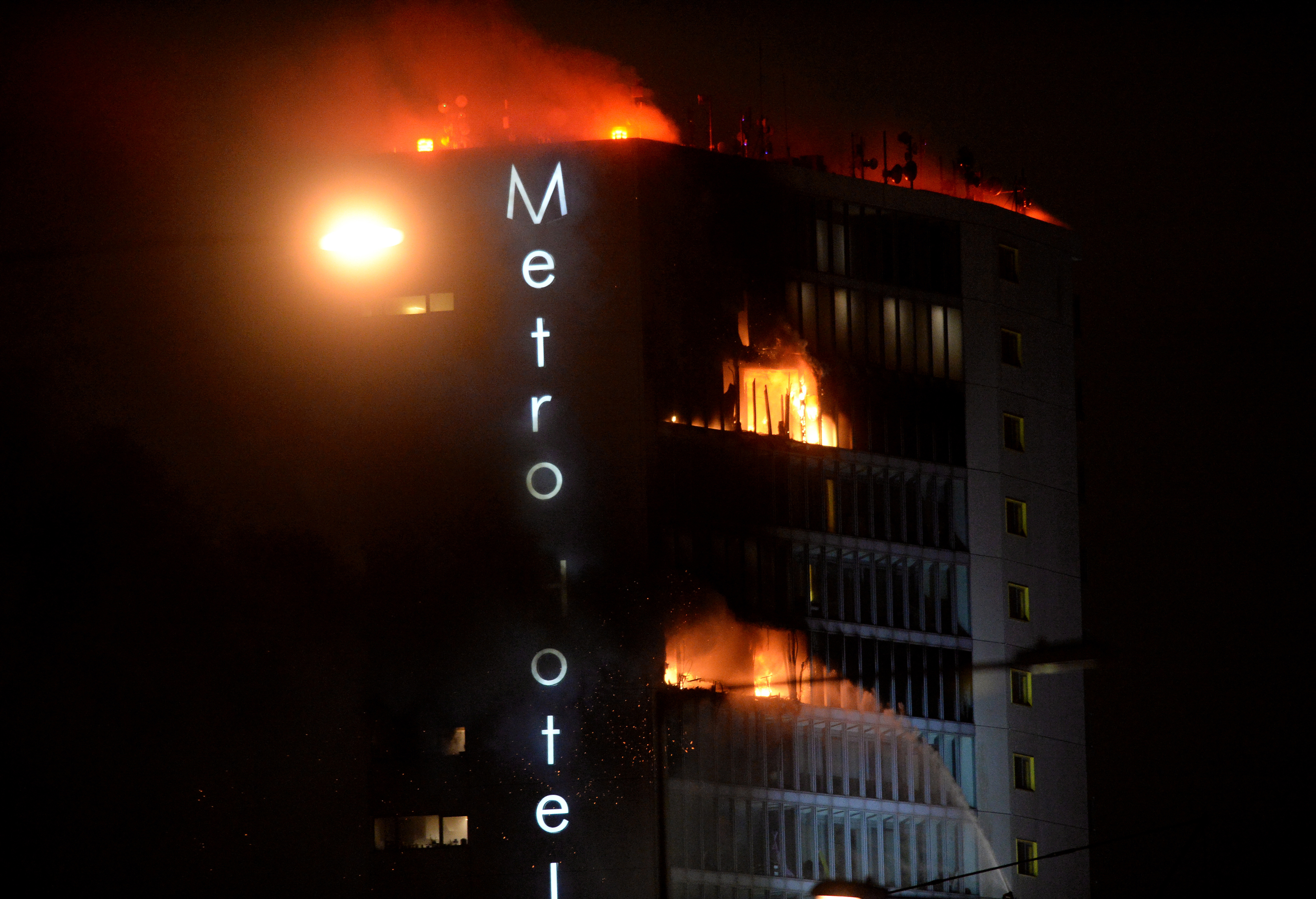 21 Mar 2018: General view of fire at Metro Hotel, Ballymun, Dublin. Picture: Caroline Quinn